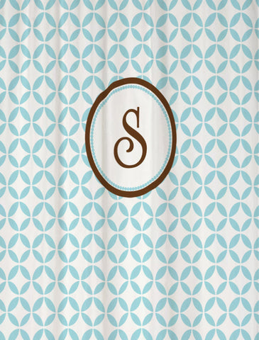 Shower Curtain Geometric Monogrammed Personalized Round Frame