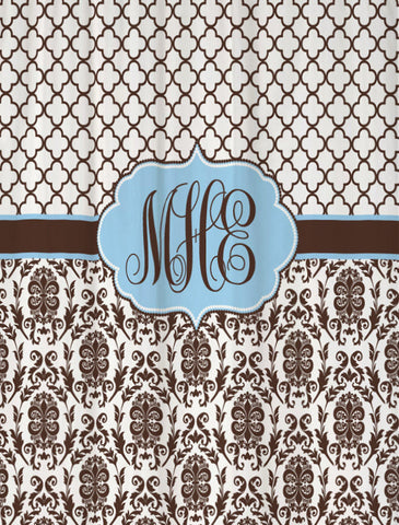 Shower Curtain Damask and Lattice Custom Monogram Personalized for Your Bathroom