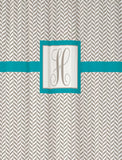 Shower Curtain Herringbone with Square Monogram