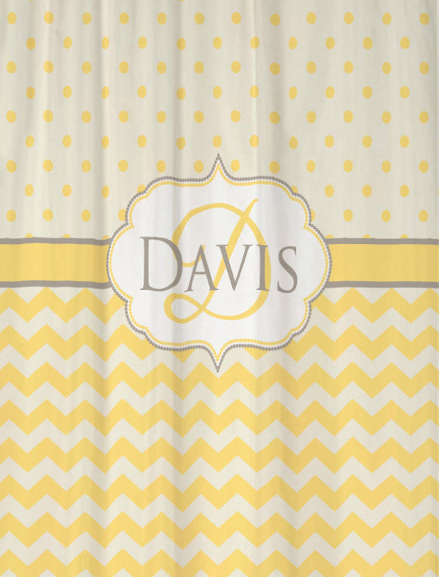 Shower Curtain Fabric Chevron and Polka Dots shown in Cool Gray and Butter Yellow