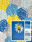 Shower Curtain Daisy Yellow Sky Blue Inspired Floral