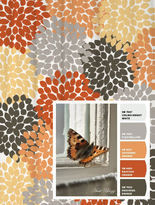 Shower Curtain Gray Orange Monarch Inspired Floral