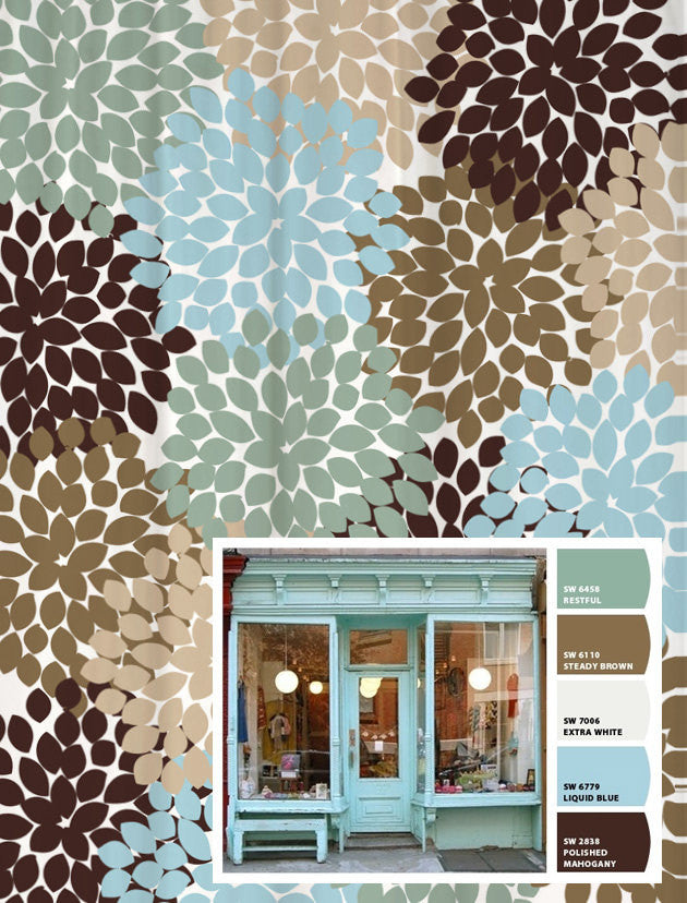 Shower Curtain Blue Brown Storefront Inspired Floral