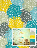 Shower Curtain Vintage Ferris Wheel Inspired Floral