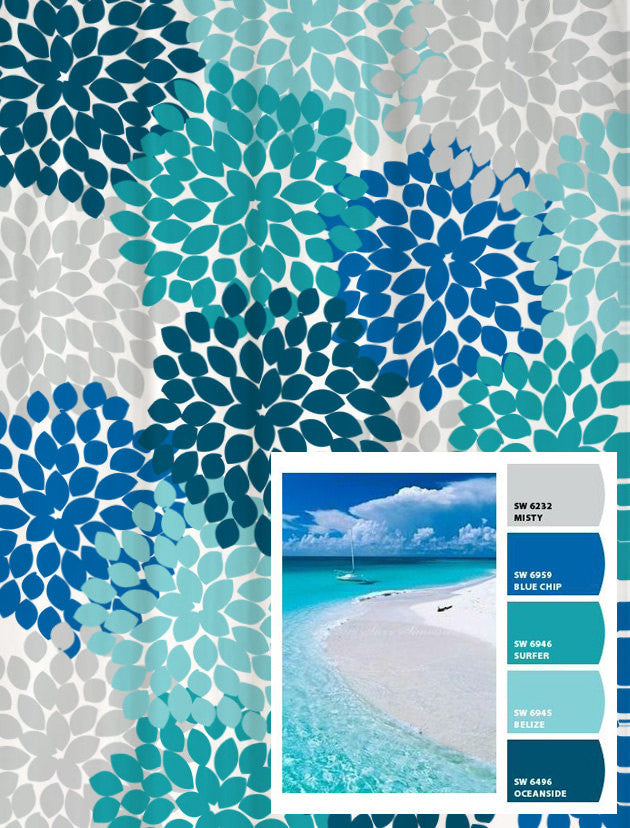 Shower Curtain in Blue and Gray Beach Inspired Floral