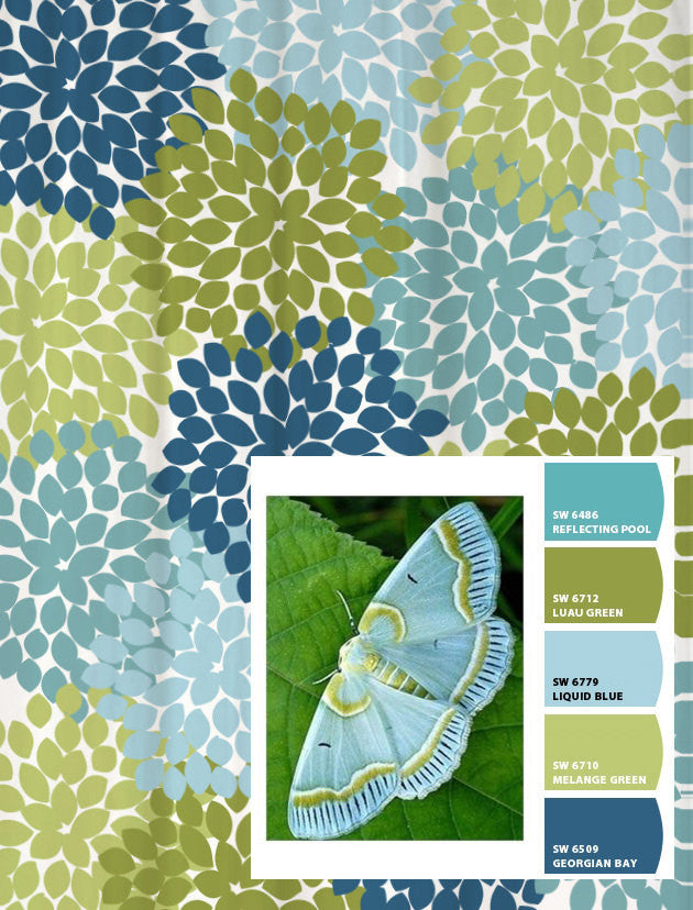 Shower Curtain in Blue and Green Moth Inspired Floral
