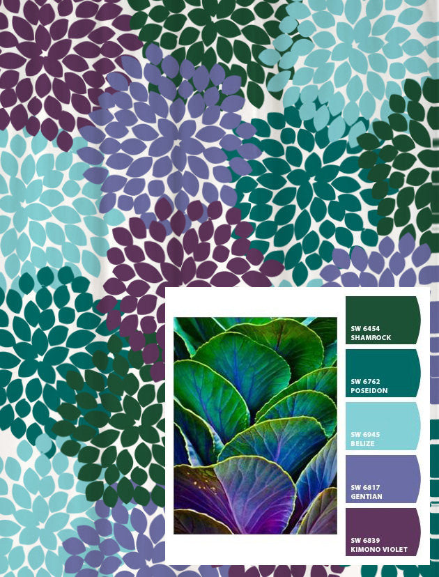 Shower Curtain in Purple Blue Green Floral