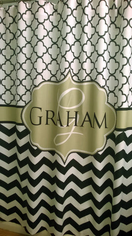Shower Curtain Chevron Lattice You Choose Colors Personalized with Name