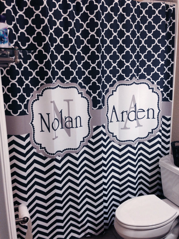Shower Curtain Chevron Lattice Up To 3 Names Shown Navy And Tan