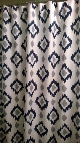 Shower Curtain Ikat Diamonds Shown in Navy and Cool Gray