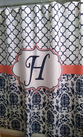 Shower Curtain Fabric Damask Lattice Monogrammed shown in Navy and Coral
