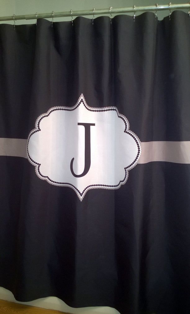 Shower Curtain Solid Color With Monogrammed Initial