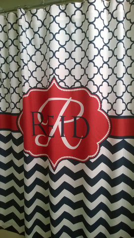 Shower Curtain Chevron Quatrefoil Lattice with Name Personalization Shown Navy and Red
