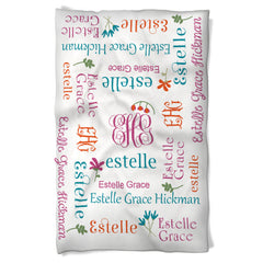 Baby Girl Blanket Features Baby's Name and Cute Flowers!