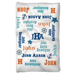 Boy Blanket Features Baby's Name Nautical Theme