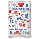 Baby Boy Sports Blanket Features Baby's Name