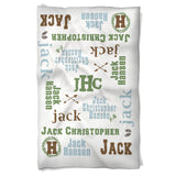 Baby Boy Outdoor Blanket Features Baby's Name