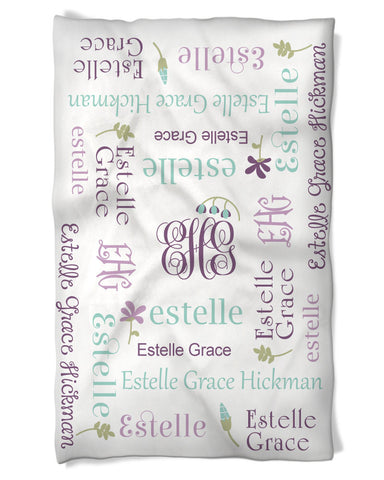 Baby Girl Blanket Personalized Name Monogram Flower Details