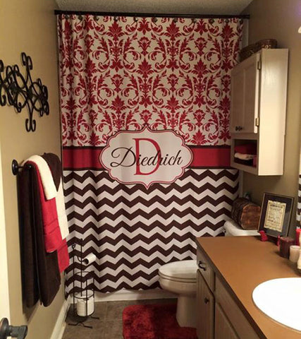 Shower Curtain Fabric Chevron and Lattice Quatrefoil Personalized with your name!