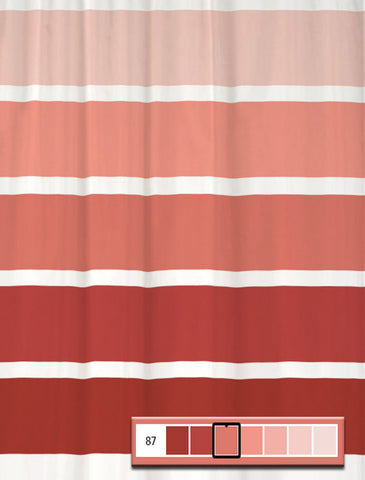 Shower Curtain Rugby Color Block Stripes for Coral Decor