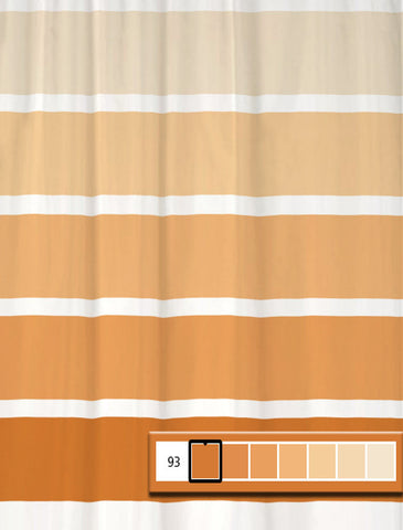 Shower Curtain Rugby Stripe Bold Orange Colors