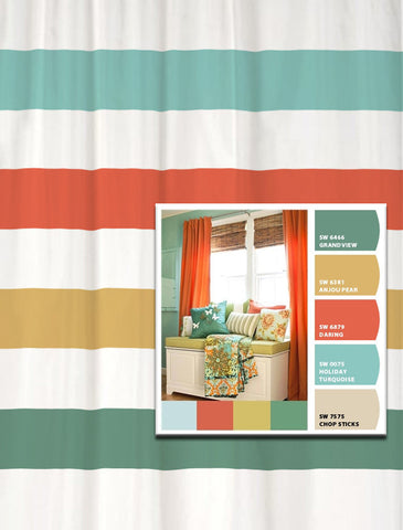 Shower Curtain Coral Aqua Room Inspired Stripes