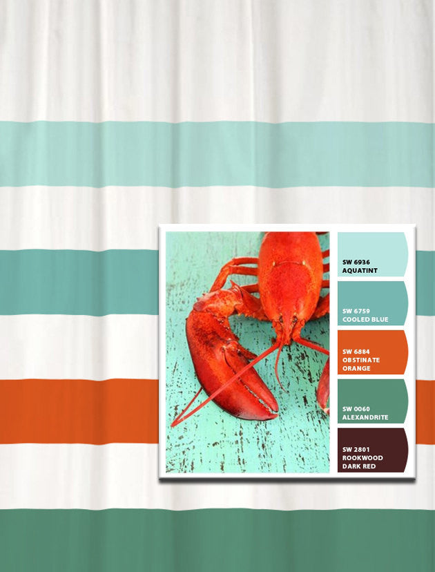 Shower Curtain in Lobster on the Dock Inspired Stripes