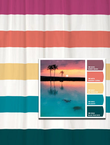 Shower Curtain in Tropical Bay Inspired Stripes