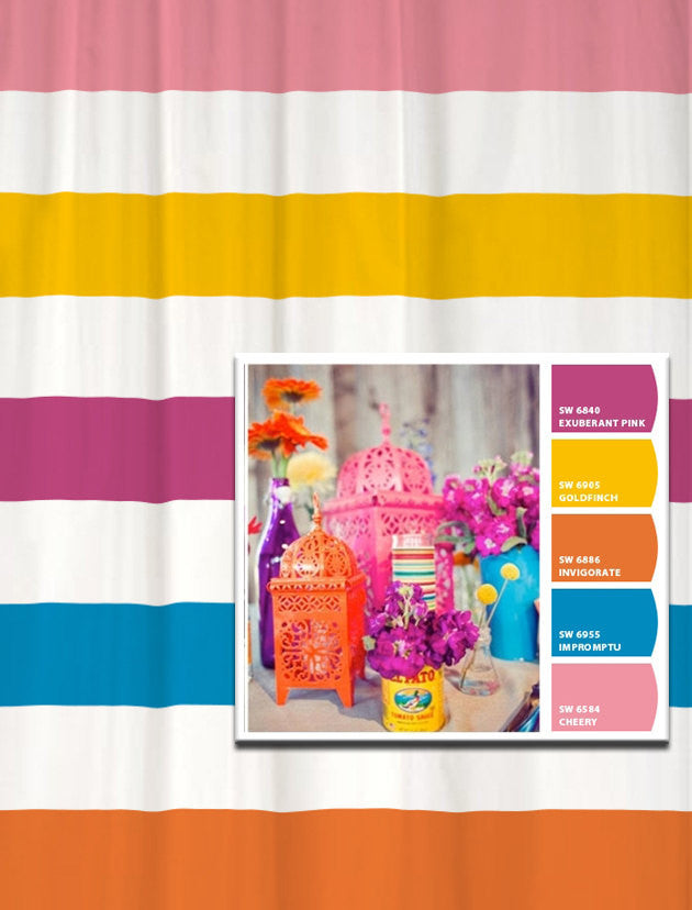 Shower Curtain in Bright Lantern Inspired Stripes