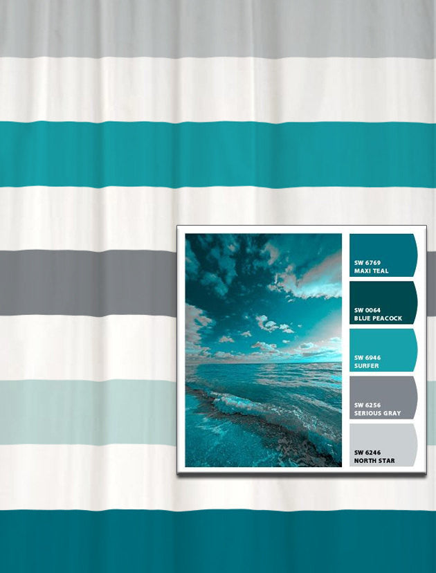 Shower Curtain in Stormy Seas Inspired Stripes