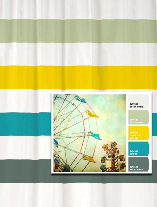 Shower Curtain in Blue and Yellow Vintage Ferris Wheel Inspired Stripes
