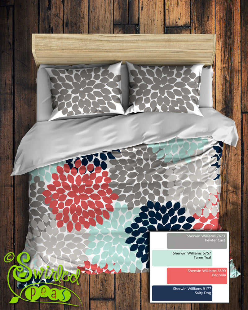 floral bedding in comforter or duvet best selling navy coral gray and aqua dahlia flower design - Navy Bedding
