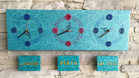 Creative Canvas Clock #7 Time Zones