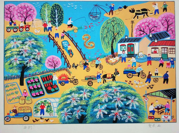 Aidong Feng Original Painting - Village Views