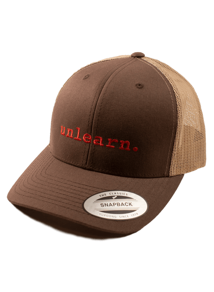 unlearn. - Brown/Khaki Trucker Snapback Hat