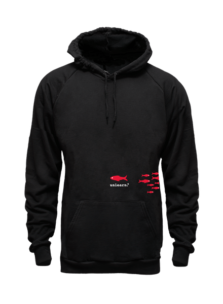 Fish - Unisex Black Fleece Pullover Hoody