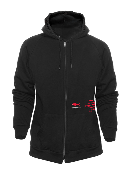 Fish - Unisex Black Fleece Zipper Hoody