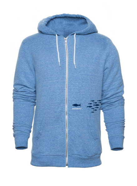Fish - Unisex Light Blue Tri-Blend Zipper Hoody