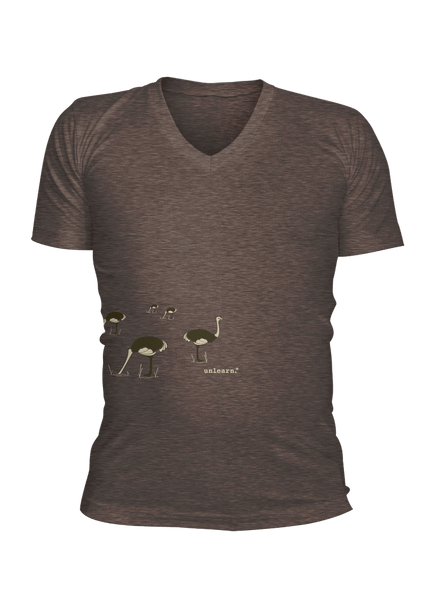 Ostrich - Unisex Coffee Brown V-neck-T-shirt