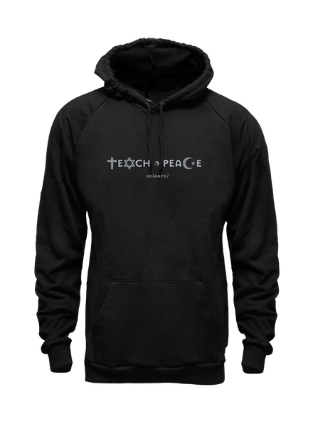 Teach Peace - Unisex Black Fleece Hoody