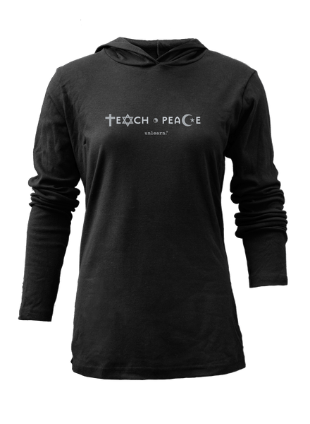 Teach Peace - Women's Black Light Weight Hoody