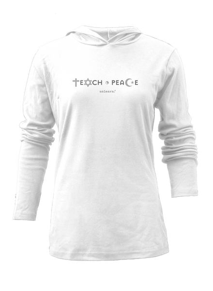 Teach Peace - Women's White Light Weight Hoody