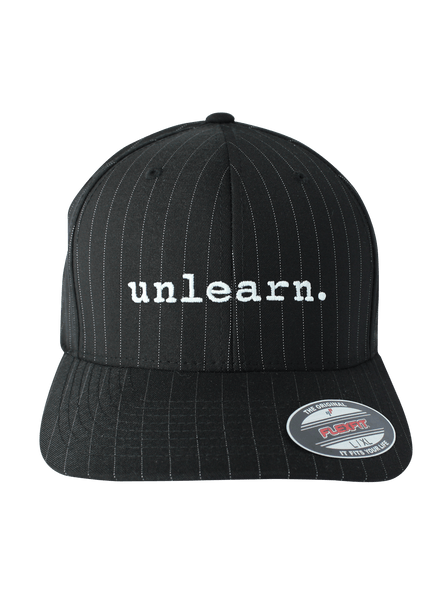 unlearn. - Black Pinstripe Flexfit Hat