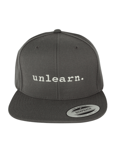 unlearn. Grey Yupoong Snapback Hat