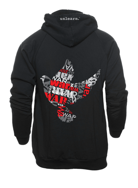 War Dove - Unisex Black Fleece Zipper Hoodie