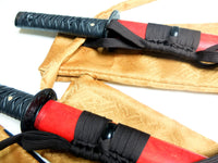 Daisho (katana and wakizashi pair) with red rice paper saya - high quality sword from Martialartswords.com
