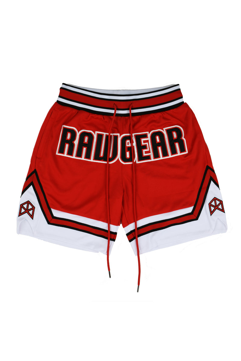 Rawgear Front Embroidery Basketball Shorts BM108 - Red/White
