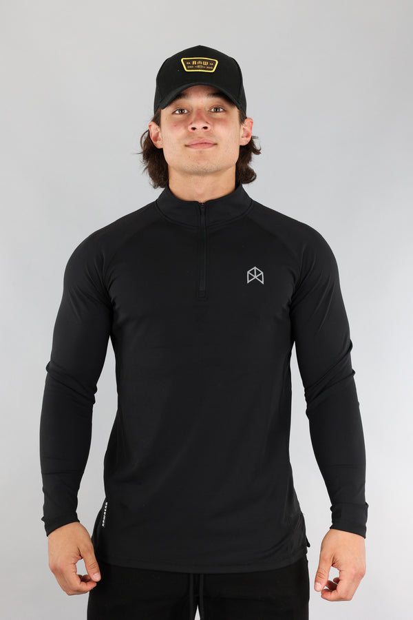 RAWGEAR Quarter-Zip Pull Over - BM527- Black