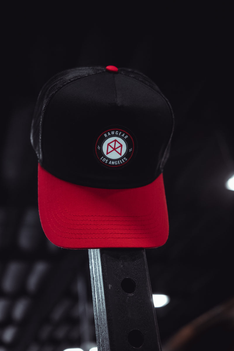 RAWGEAR Los Angeles Trucker Hat- Black/Red