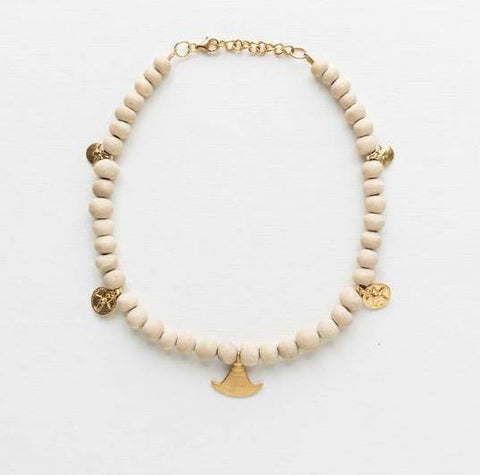 Klaylife Ayize Clay Bead Necklace - Gold